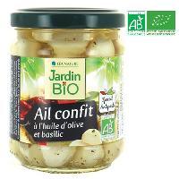 Conserve De Legume Ail confit a l'huile d'olive et basilic bio - 190 g