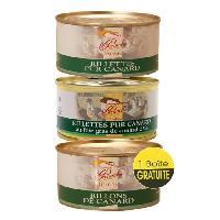 Conserve De Viande 2 Rillettes Canard au Foie Gras et Nature 130g = 1 Rillons de Canard OFFERT - CHALOSSE - Panache Des Landes