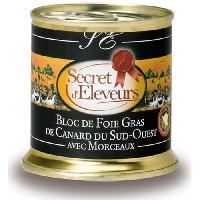 Conserve De Viande Bloc Foie Gras de Canard avec morceaux (30%) 20... - Secret D'eleveurs
