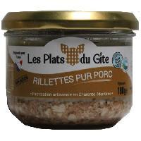 Conserve De Viande LES PLATS DU GITE Rillettes Pur Porc - 180 g