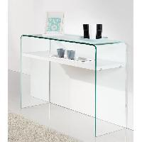 Console CLEAR Console style contemporain en verre trempé transparent laqué blanc brillant - L 110 cm - Generique