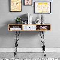 Console COLETTE Console scandinave decor chene et imprime + pieds en metal laque noir - L 100 cm