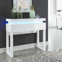 Console FLASH Console avec LED style contemporain blanc laque brillant - L 90 cm