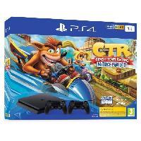Console Playstation 4 Pack PS4 1 To Noire + Crash Team Racing + 2eme manette DualShock 4 Noire V2 - Sony Computer Entertainment