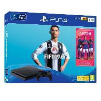Consoles Pack PS4 1 To Noire + FIFA 19 + 14 jours d'essai PlayStation Plus