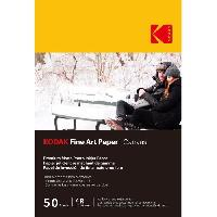 Consommables KODAK - 50 feuilles de papier photo 230g/m². mat. Format A6 (10x15cm). Impression Jet d'encre effet toile - 9891091