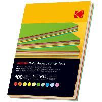 Consommables KODAK - Ramette de 100 feuilles papier couleur 80g/m². Format A4 (21x29.7cm) Rouge. Orange. Jaune. Vert. Bleu et Rose