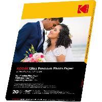 Consommables KODAK 9891175 - 20 feuilles de papier photo 280g/m². brillant. Format 13x18 cm. Impression Jet d'encre