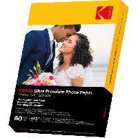 Consommables KODAK 9891177 - 60 feuilles de papier photo 280g/m². brillant. Format A6 (10x15cm). Impression Jet d'encre