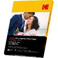 Consommables KODAK 9891261 - 25 feuilles de papier photo 280g-m2. brillant. Format A4 -21x29.7cm-. Impression Jet d'encre