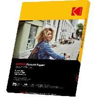 Consommables KODAK 9891266 - 25 feuilles de papier photo 230g-m2. brillant. Format A4 -21x29.7cm-. Impression Jet d'encre