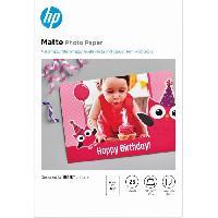 Consommables Papier photo mat HP. 180 g-m2. 10 x 15 cm. 25 feuilles -7HF70A-