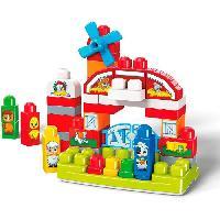 Construction - Modelisme - Maquette - Modele Reduit MEGA BLOKS - Ferme Musicale - Briques de construction - 46 blocs imprimes animaux - 12 chansons et bruits d'animaux - 12 mois et +