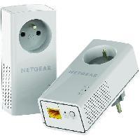 Construction Reseau NETGEAR Pack de 2 adaptateurs CPL 2000 Mbit/s- 2 ports 10/100/1000 RJ45 - Avec prise intégrée PLP2000-100FRS