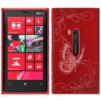 Coque - Bumper - Facade Telephone Coque Arriere de protection -Butterfly- pour Nokia Lumia 920 - Rouge - ADNAuto