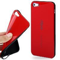 Coque - Bumper - Facade Telephone Coque arriere souple -iFace- pour Apple iPhone 5 - Rouge bords noirs - ADNAuto