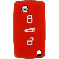 Coques de clefs Housse ROUGE silicone pour cle 3 boutons PSA307S Generique