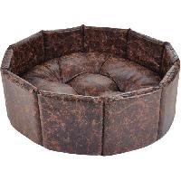 Corbeille - Panier - Coussin - Hamac Panier octogonal Chesterfield - Polyester - O38 cm - Chocolat - Pour chien - Aucune