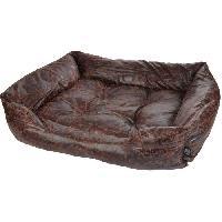 Corbeille - Panier - Coussin - Hamac Panier rectangle Chesterfield - Polyester - 55 x 43 x 18 cm - Chocolat - Pour chien - Aucune