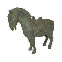 Corbeille - Paniere HOMEA Cheval deco en polyresine 31x12xH28.5 cm gris - Generique