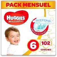 Couche Jetable - Couche D?apprentissage HUGGIES Ultra Comfort - Couches Bébé Unisexe x102 Taille 6 - Pack 1 Mois