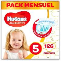 Couche Jetable - Couche D?apprentissage HUGGIES Ultra Comfort - Couches Bébé Unisexe x126 Taille 5 - Pack 1 Mois