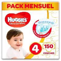 Couche Jetable - Couche D?apprentissage HUGGIES Ultra Comfort - Couches Bébé Unisexe x150 Taille 4 - Pack 1 Mois