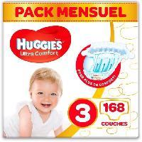 Couche Jetable - Couche D?apprentissage HUGGIES Ultra Comfort - Couches Bébé unisexe x168 Taille 3 - Pack 1 mois
