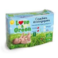 Couche Jetable - Couche D?apprentissage LOVE et GREEN - Couches Ecologiques Hypoallergeniques 0 T2 x36