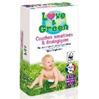 Couche Jetable - Couche D?apprentissage LOVE et GREEN - Couches Ecologiques Hypoallergeniques 0 T4+ x42