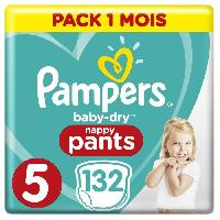 Couche Lavable PAMPERS Baby-Dry Pants Taille 5. 12-17kg. 132 Couches - Pack 1 Mois