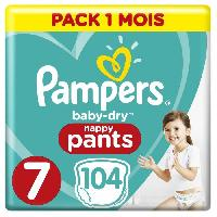 Couche Lavable PAMPERS Baby-Dry Pants Taille 7. 17+kg.  104 Couches Pack 1 Mois