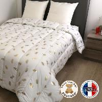 Couette Couette chaude 400 grm2 COLETTE - 200x200 cm - Blanc imprime Plumes dorees
