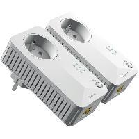 Courant Porteur - Cpl Kit de 2 Adaptateurs CPL Filaire - 500 Mbit-s - Prise gigogne - 1 Port Ethernet