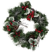 Couronne De Noel Couronne de Noël 40 cm - décor houx - Aucune