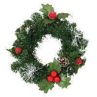 Couronne De Noel Couronne de Noël tradition avec décors pomme de pins et pommes rouges - Ø 30 cm - Generique