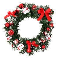 Couronne De Noel Couronne de Noël verte avec décors boîtes cadeaux blanches et noeuds rouges - Ø 40 cm - Codico
