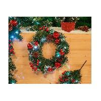 Couronne De Noel Couronne lumineuse de Noël 10 LED en PVC - Ø 30 cm - Vert et rouge - Generique