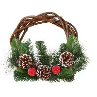 Couronne De Noel Décoration de Noël Couronne avec décors Pommes de pin et Pommes - Ø 25 cm - Vert. marron et rouge - Generique