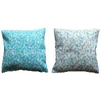 Coussin De Chaise - Galette 2 Coussins dehoussables MILLE FLEURS 40x40 cm - Turquoise