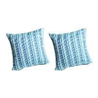 Coussin De Chaise - Galette 2 coussins dehoussables MADRAS 42x42 cm - Bleu