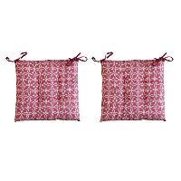 Coussin De Chaise - Galette 2 galettes de chaises RELAX GEOMETRICO 38x38 cm - Rouge et blanc