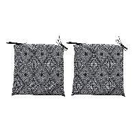 Coussin De Chaise - Galette 2 galettes de chaises dehoussables CONFORT 38x38 cm - Noir
