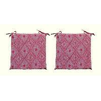 Coussin De Chaise - Galette 2 galettes de chaises dehoussables CONFORT 38x38 cm - Rouge