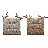 Coussin De Chaise - Galette O'CBO Lot de 2 Galettes de chaises Mille Fleurs - 40 x 40 cm - Blanc lin Ocbo