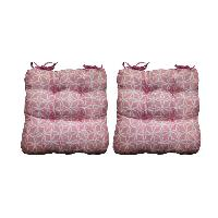 Coussin De Chaise - Galette O'CBO Lot de 2 galettes de chaises Max Geometrico - 38 x 38 cm - Rose Ocbo