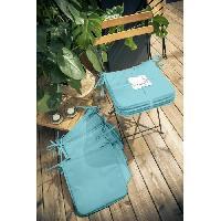 Coussin De Chaise - Galette TODAY Lot de 6 Galettes de chaise 38x38x2cm - 100% Polyester - Bleu ciel