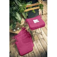 Coussin De Chaise - Galette TODAY Lot de 6 Galettes de chaise 38x38x2cm - 100% Polyester - Rose Fushia
