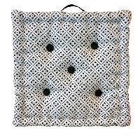 Coussin De Sol - Matelas De Sol Coussin de sol Coton Imprime Clover 40x40x9 cm noir et blanc