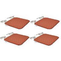 Coussin D'exterieur - Coussin De Bain De Soleil - Coussin De Chaise De Jardin EZPELETA Set de 4 Coussins de chaises carrées Sol - 40 x 40 cm - Orange et gris